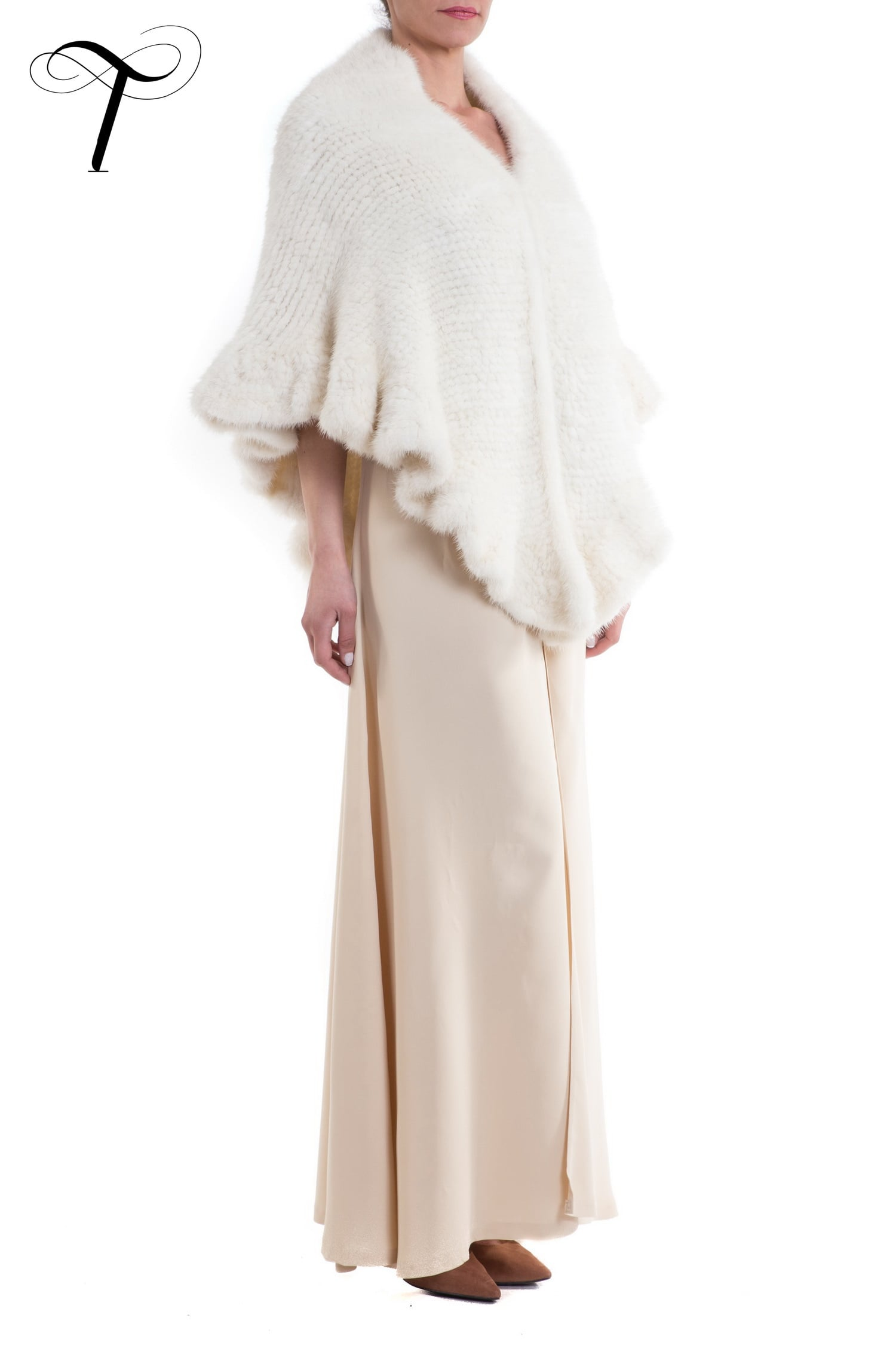 White Cape Fur Cape